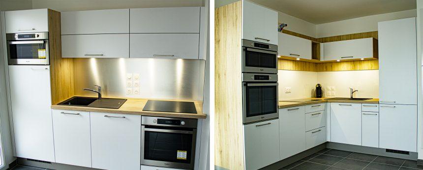 Cuisine compacte, façade blanche mate , et un plan de travail bois